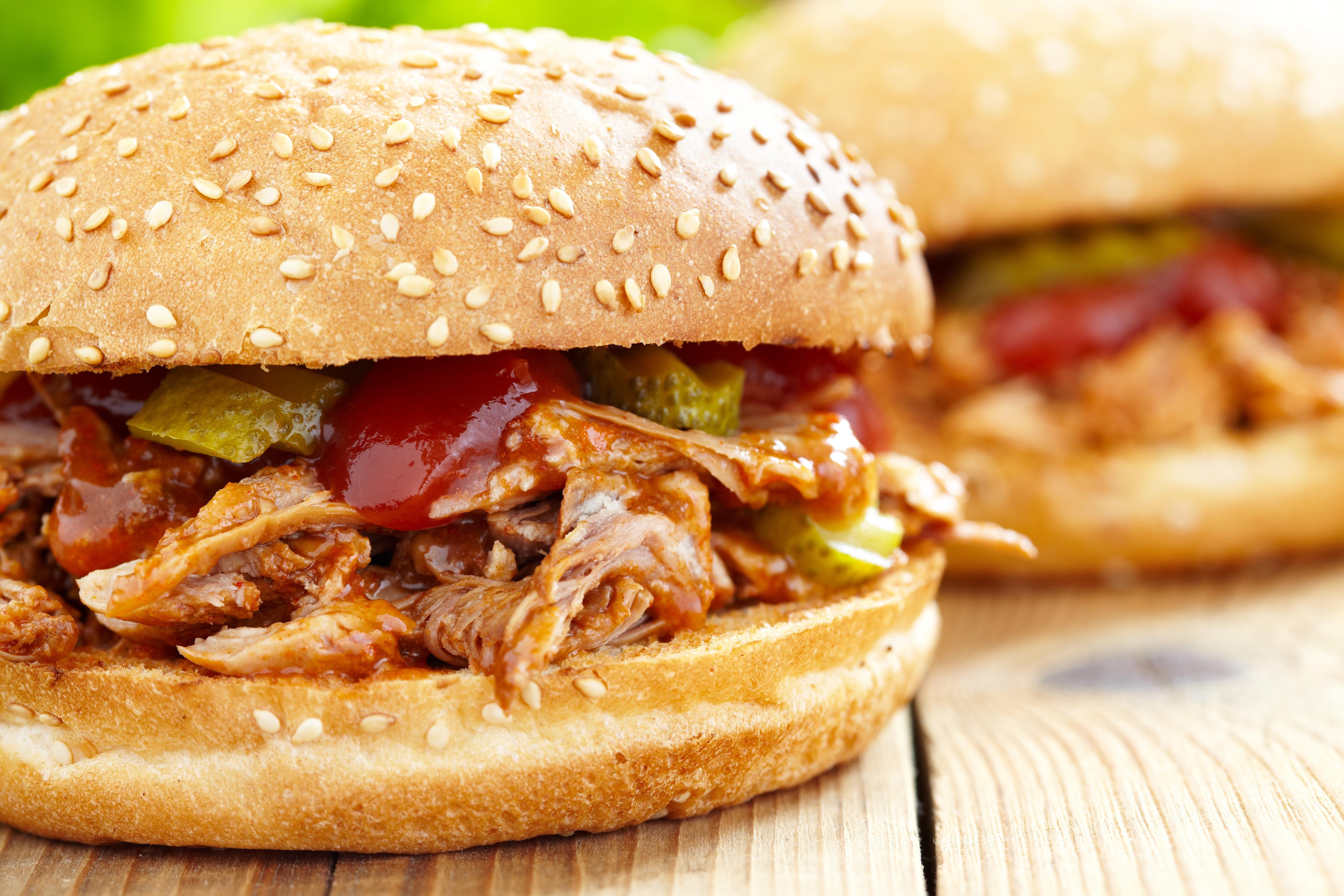 19477071 - pulled pork sandwich